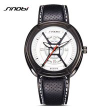 SINOBI Watches Men Quartz Analog Wristwatches Breathable Leather Clock Man Sports Watches Army Watch Relogio Masculino
