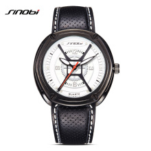 SINOBI font b Watches b font font b Men b font Quartz Analog Wristwatches Breathable Leather
