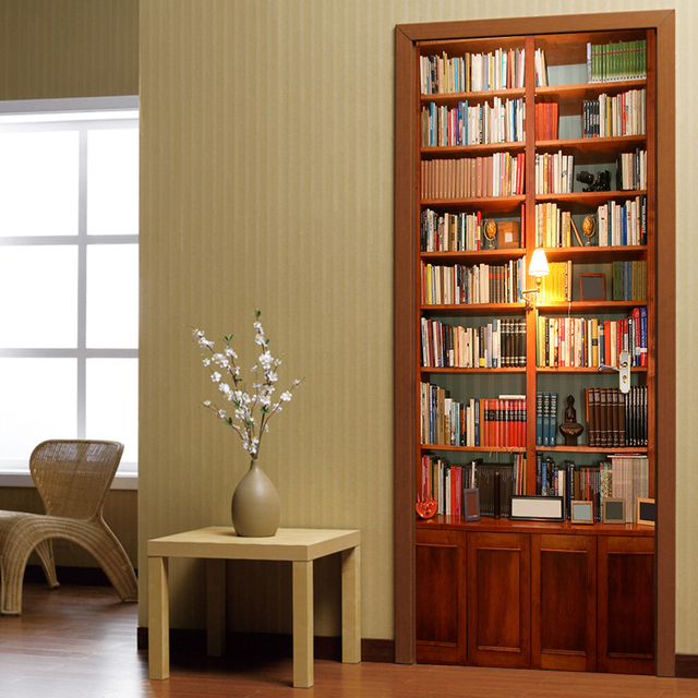 PVC 3D Wall Sticker Bookshelf Self Adhesive Door Fridge Stickers Wallpaper Home Living Room Art