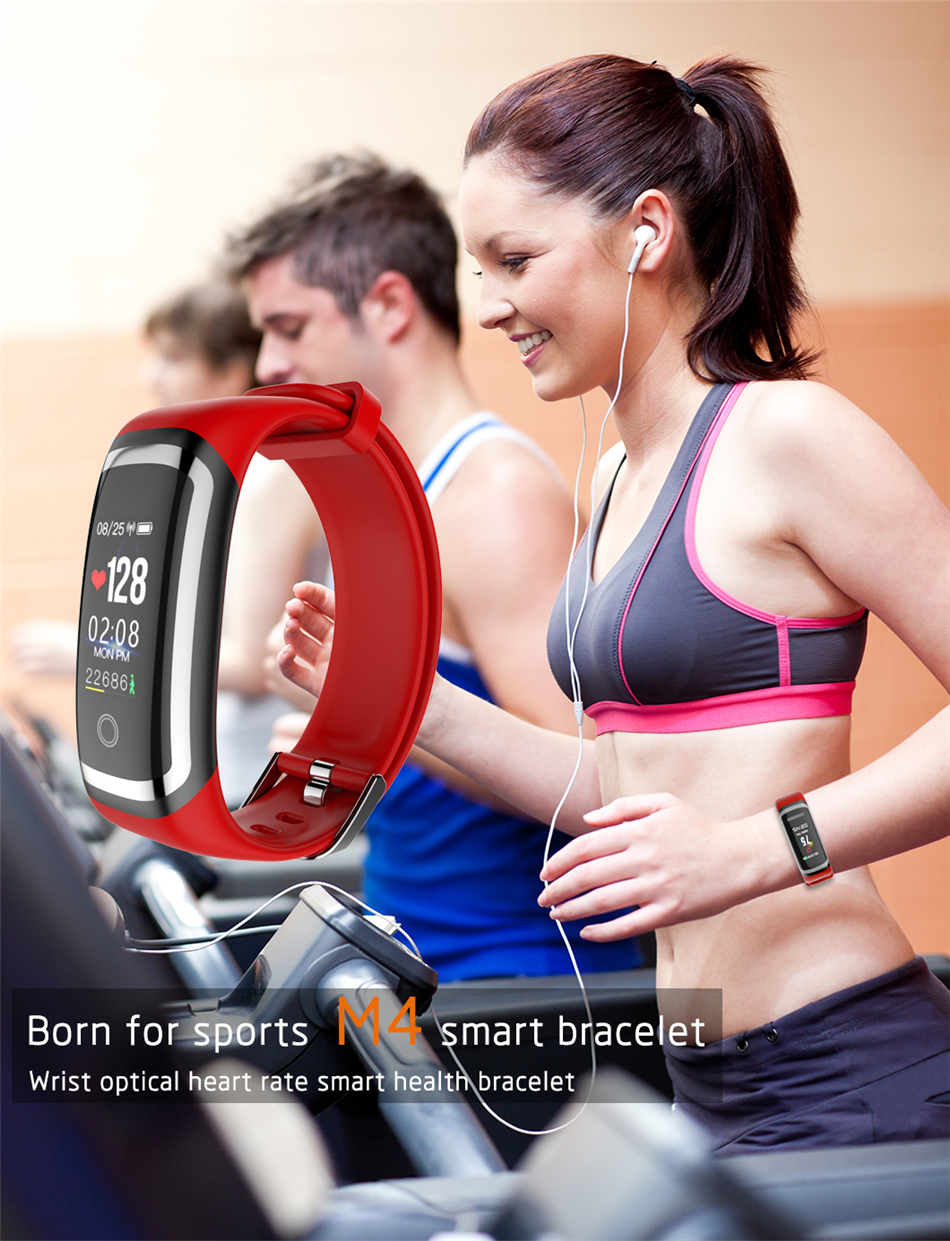 Longet Fitness Tracker M4 Newest chip Nrf52832 real-time Heart Rate+ blood pressure Monitor Smart Bracelet wristband & stopwatch 7