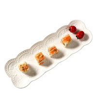 36*12*2cm Creative Japanese Relief Butterfly Dish Ceramic Sushi Plate Bread Snacks Rectangle Plate Of Dinner Plate Dishes for Ho