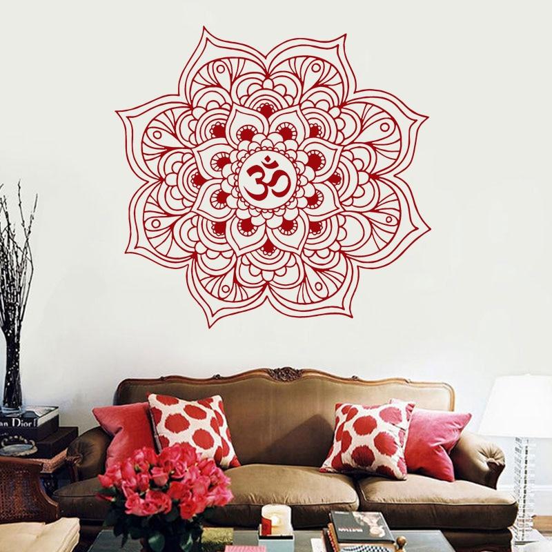 Mandala duvar çıkartmaları dekor hint yoga oum om burcu - Ev Dekoru - Fotoğraf 3