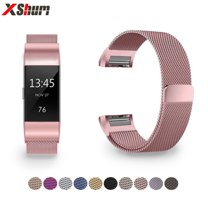 XShum Metal Stainless Strap For Fitbit Charge 2 Band Milanese Loop Magnetic Fitbit Charge 3 Strap Smart Bracelet For Women Men(China)