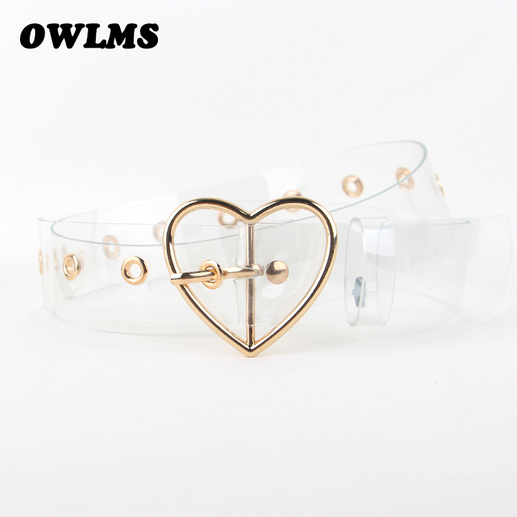 Fashion Design gold Metal heart buckle   belt   silver clear Plastic PVC strap   belts   Transparent plastic Waist   Belt   for Women jeans