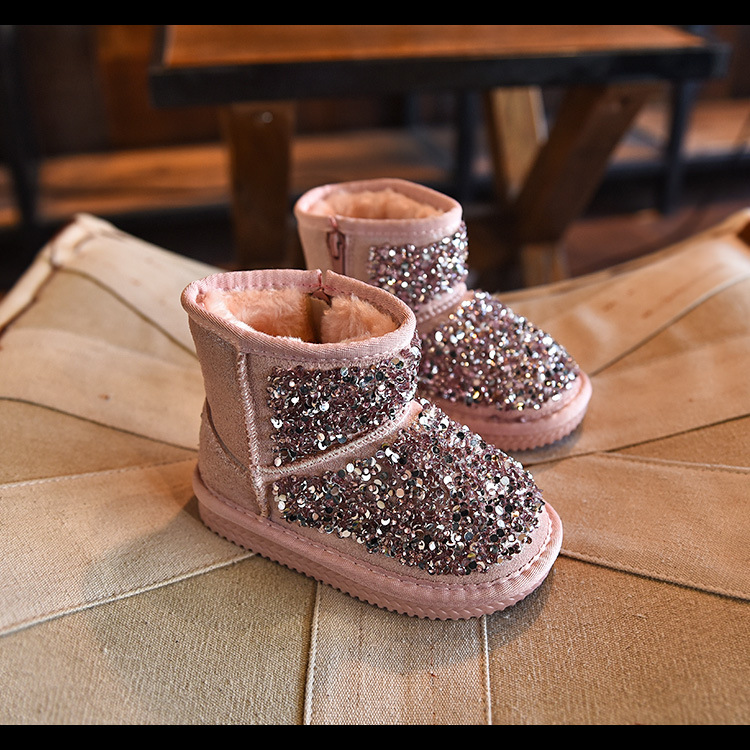 winter fashion fur rubber boots for children pink glitter shoes boys pu leather rubber boots baby