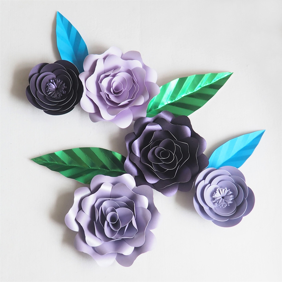 DIY Giant Paper Artificial Flowers Wedding Fleurs Artificielles Backdrop Artificial Rose 5PCS+4 Leave Party Decor Nursery Purple