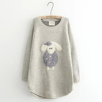 Autumn Winter Casual Sweet Cartoon Paste Lamb Embroidery Sweater Women S Round Neck Comfortable Long Style