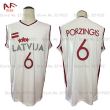 Cheap Kristaps Porzingis 6 Latvija White