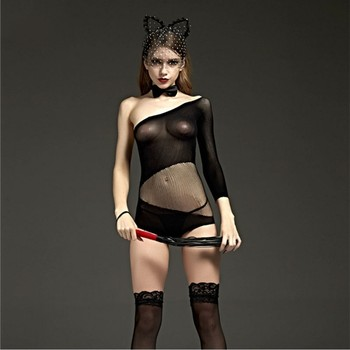2019 Novelty & Special Use Internal Sexual Porn Mesh Lace Babydoll Dress Suit Open Crotch Lingerie Sexy Costumes Women Underwear