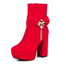 2016 Big Size 32-48 2016 Stylish Flock Short Women Boots Thick High Heels Platform Bowtie Women Shoes Add Fur Fall Winter Boots