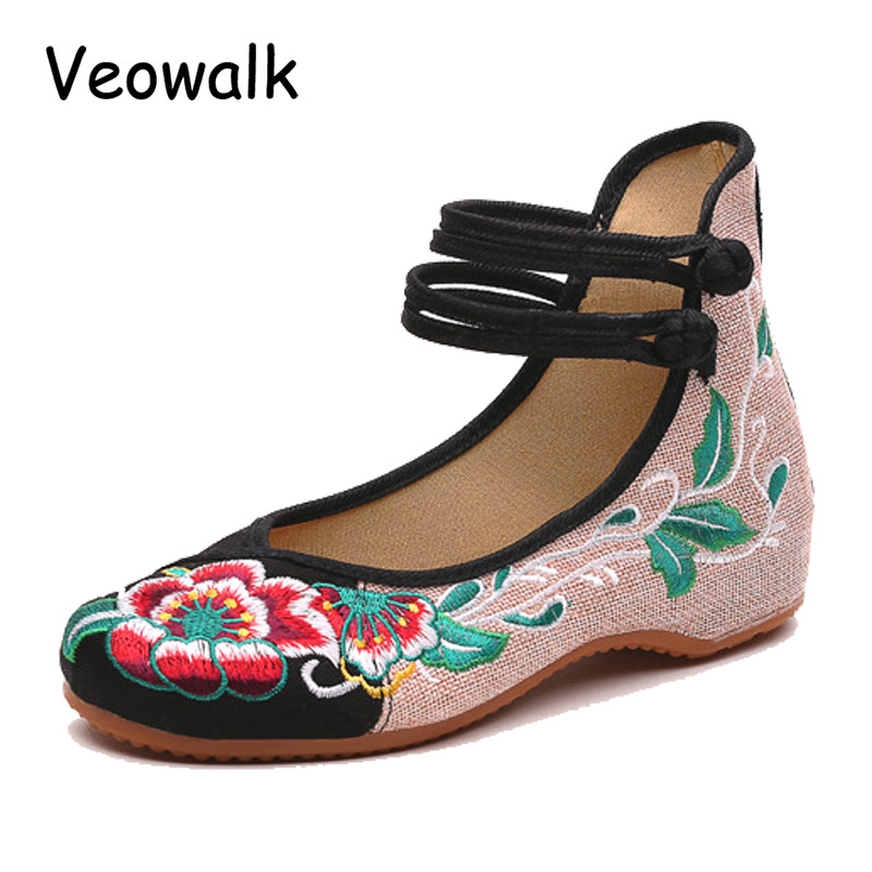 Veowalk Chinese Fashion Women's Shoes Old Peking Mary Jane Denim Flats Flower Embroidery Soft Sole Casual Shoes Plus Size 34-41 chinese embroidery shoes woman old peking flat heel denim fashion casual floral flats soft sole casual shoes smyxhx b0057
