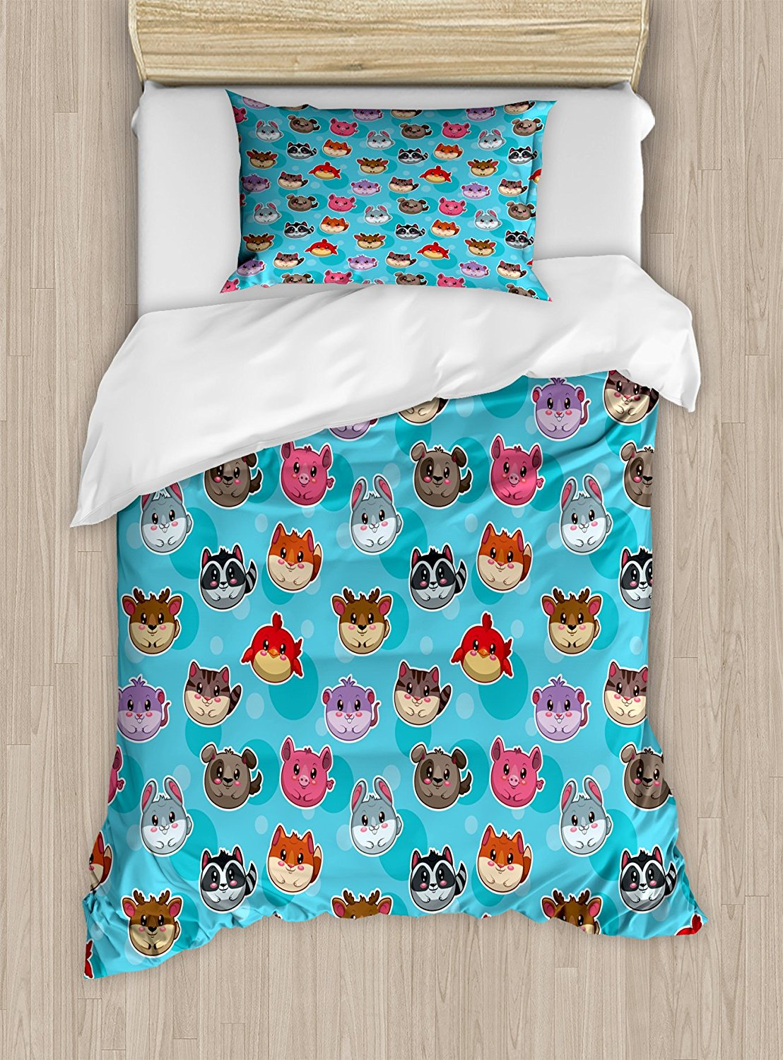 Duvet Cover Set Cartoon Style Round Different Animals Funny Smiling Faces of Toddler Chi ...