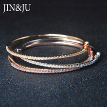 JIN&JU Women Jewelry Fashion Style C Colorful Bangle Nice Gifts With Gold Plating Rose Bracelet