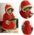 New Baby Girls Long Style With Velvet Thick Woolen Coat Little Red Riding Hood Clothing Kids Christmas Keep Warm Overcoat