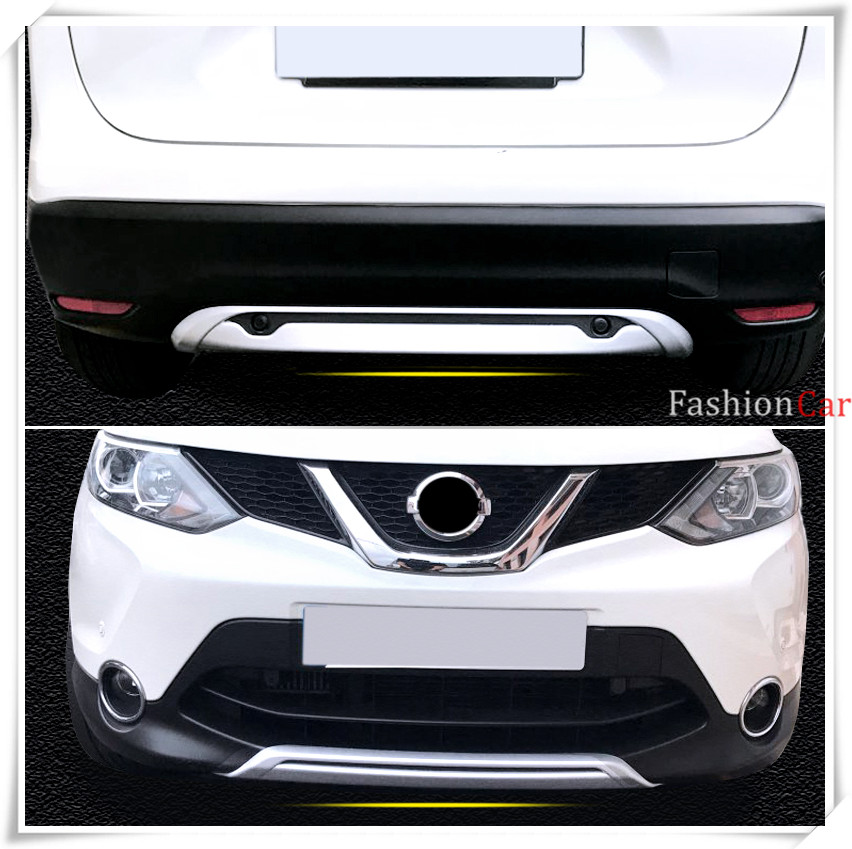 ABS Car Front and Rear Bumper Skid Protector Guard Plate For Nissan Qashqai/Dualis J11 2014 2015 2016 for nissan qashqai j11 2014 2015 2016 stainless steel interior rear trunk bumper sill plate guard pedal protector car accessory page 7
