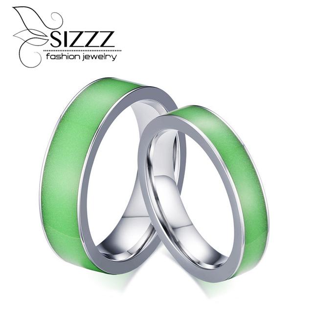 Sizzz Green Silicone Luminous Mood Glow In The Dark Rings Womens Men
