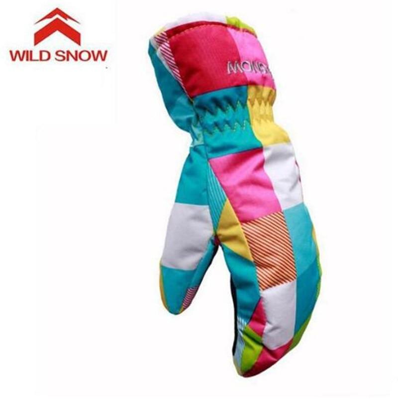 Зимние лыжные перчатки для мальчиков и девочек WILD SNOW, ветрозащитные водонепроницаемые милые лыжные перчатки, водонепроницаемые теплые пер...