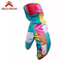 WILD SNOW Winter Boy&Girl Ski Gloves Windproof Waterproof Cute Skiing Gloves Waterproof Warm Gloves Mittens wild boy