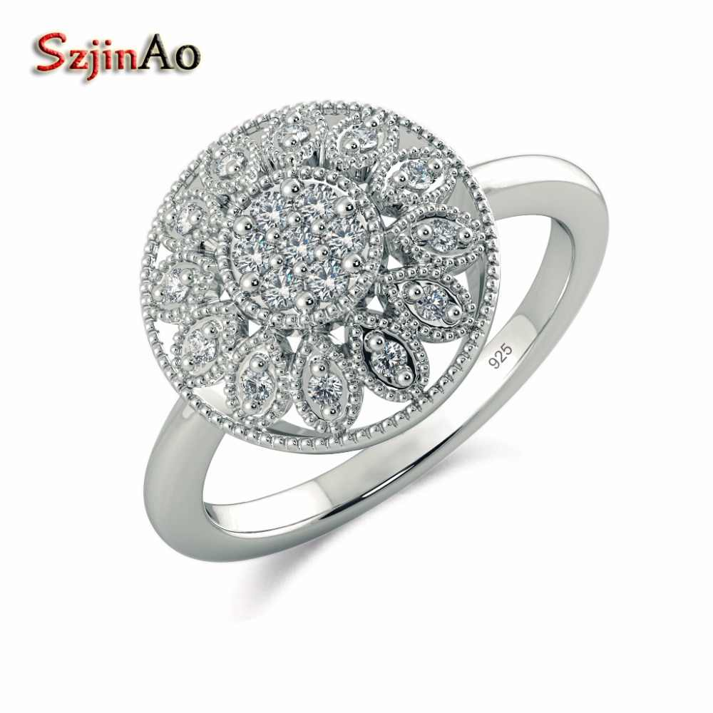 Szjinao Genuine 925 Sterling Silver Flower Diamond Rings For Women Cubic Zircon Luxury Wedding Jewelry Brides maid Wife Gifts