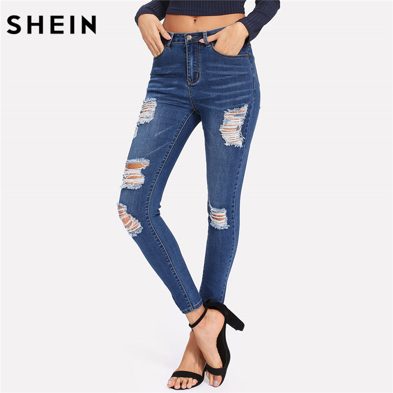 SHEIN Bleach Wash Shredded Ripped Skinny Jeans Women Blue Mid Waist Skinny Long Pants 2018 Rock Button Fly Stretchy Jeans dark blue middle waist skinny shredded ripped jeans with four pockets