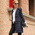 2017 Autumn New Women Long Coat Plaid Small Suit Loose blazer Slim Jacket Women's Blazers Casual OL  Outerwear Plus Size C282