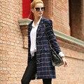 2017 Outono Nova Mulheres Longo Casaco Xadrez Pequeno Terno Solto Blazers OL Ocasional Outerwear blazer Magro das Mulheres Jaqueta Plus Size C282