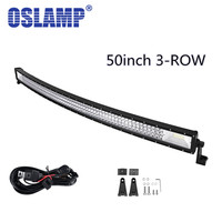 Auxbeam 783W Tri Row Cree Chips 52inch Curved Work Light Bar Offroad Driving Head Light For