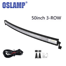 Oslamp 702 W Tri-Satır 50 inç Kavisli İş Işık Bar Offroad Sürüş başkanı Işık Car SUV 4WD 2WD Kamyon Combo Led Bar