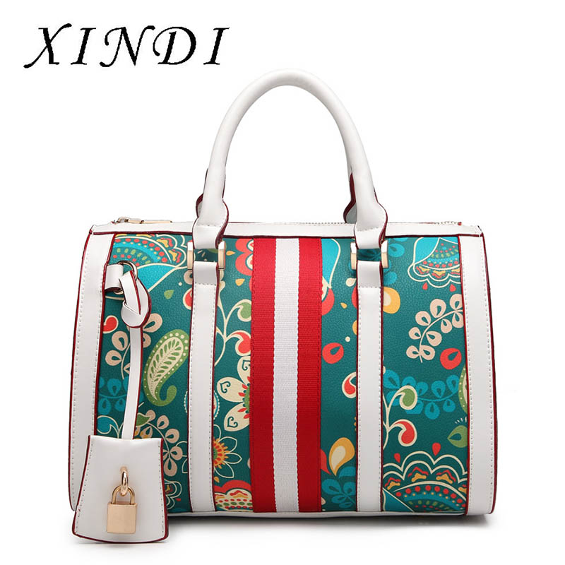 Brand women totes handbag designer luxury high quality PU leather ladies green Flowers figure handbag messenger shoulder bag borsa handbag taschen leather brand italy handicraft luxury thailand orchid bucket women messenger totes shoulder valise handbag