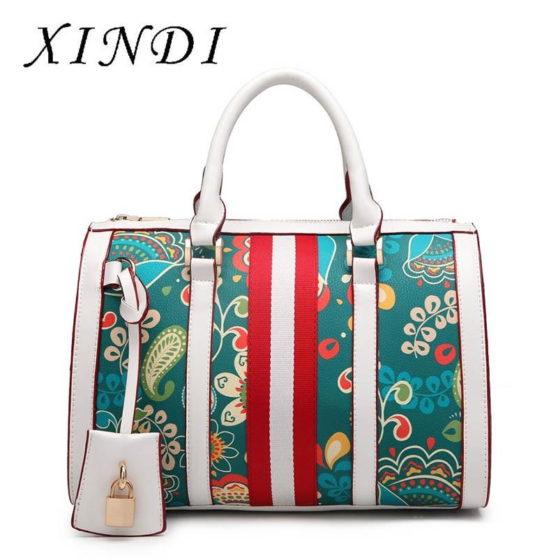 Brand women totes handbag designer luxury high quality PU leather ladies green Flowers figure handbag messenger shoulder bag