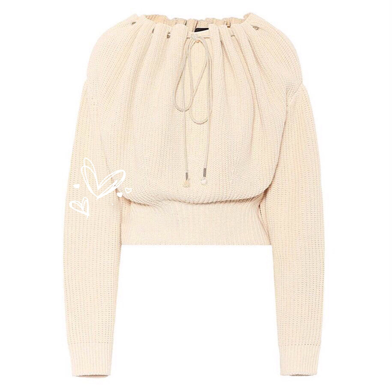TWOTWINSTYLE Draw String Sweater Women Batwing Sleeve Knitted Pullover Tops Female Oversize Fashion Casual Clothes 2018 Autumn 36