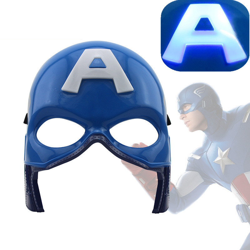 LED Head Mask Marvels The Avengers Super Heros American Captain Crazy Rubber Party Hallo ...