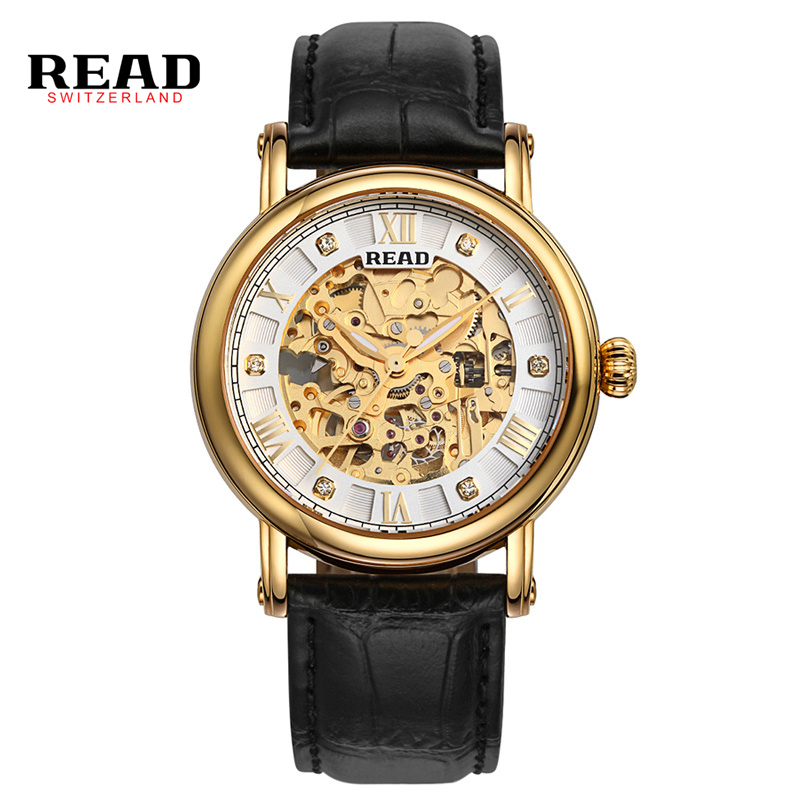 2017 READ Brand Hot Sale Sapphire Glass Skeleton Watch Man Fashion Automatic Wristwatch Self-Wind Mechanical Watch Freeshipping hot sale famous bp brand princess butterfly lady lucky clover watch austrian crystal automatic self wind wrist watch