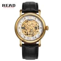 2017 READ Brand Hot Sale Sapphire Glass Skeleton Watch Man Fashion Automatic Wristwatch Self Wind Mechanical Watch Freeshipping