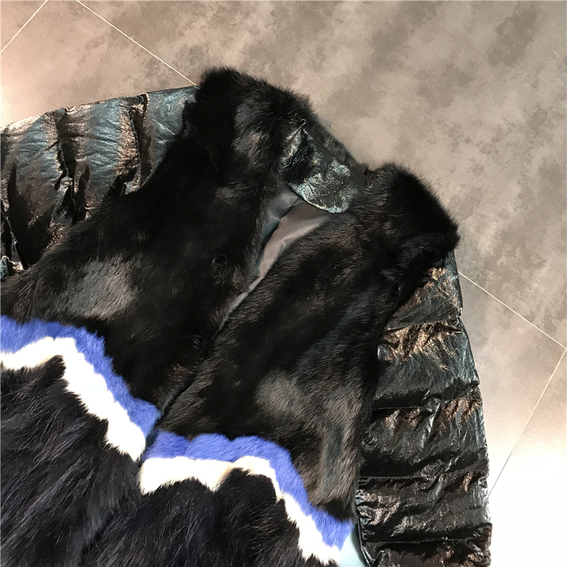 Noir D'hiver Arrivée Lapin Aucun V Manteau Patchwork Taille Nouvelles Boucle Couleur Hit De Rayures Foncé 2018 Nouvelle Fourrure Large Col Femmes Coton 5wqa10