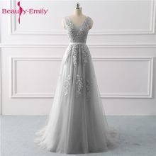 Beauty Emily Lace Appliques V-neck Long Evening Dresses 2019 Bride Sexy Sleeveless Formal Party Prom Custom