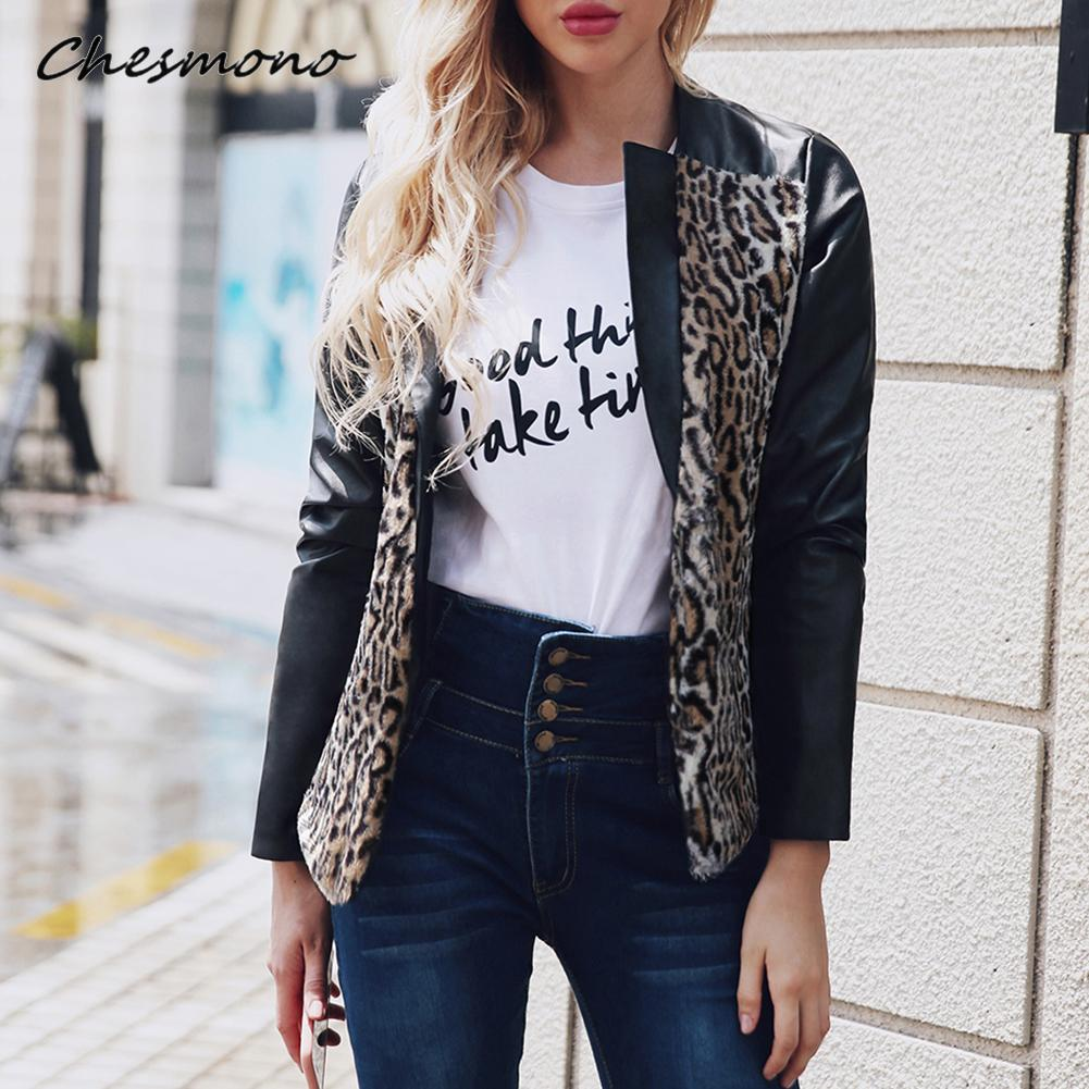 Fashion Women Faux   Leather   Fur Patchwork Jackets Winter Leopard Turn Down Collar Females   Suede     Leather   Coats Chaquete Mujer 2018
