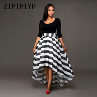 ZIPIPIYF 2017 Women Two Piece Set Dress Solid Color Three Quarter Patchwork Striped Black Strips Floor