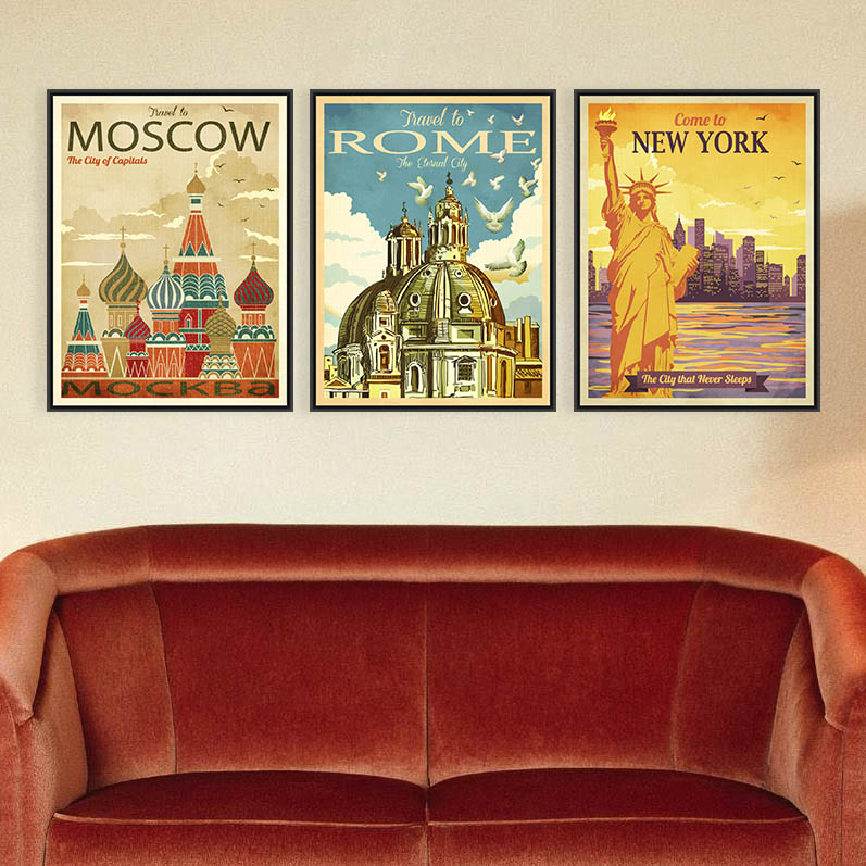 Triptych vintage retro new york rome rome moscow city for Hotel home decor