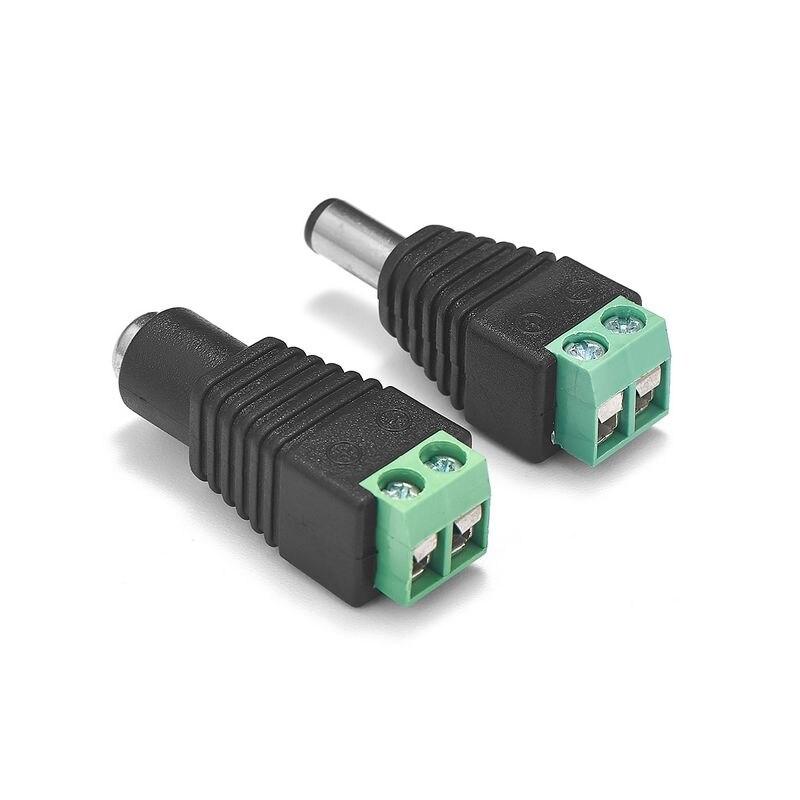 5.5 milímetros x 2.1 milímetros Conector de Alimentação DC Feminino Masculino Jack Plug Power Adapter Conectores Para WS2811 RGBW Tira CONDUZIDA controlador de Câmera de CCTV