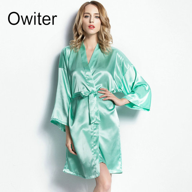 4084dcb6a0 Owiter Silk Robe Bathrobe Women Short Satin Robe Women Peignoir Womens  Sleepwear Robes Womens Dressing Gown Pijama