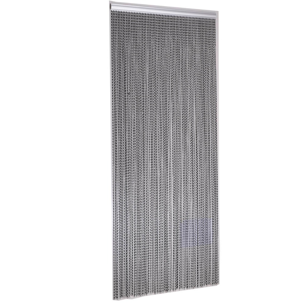 Black Door Windows Aluminium Chain Curtain Metal Screen Fly Insect Blinds Pest Control, 1000mm weight x 2100mm height