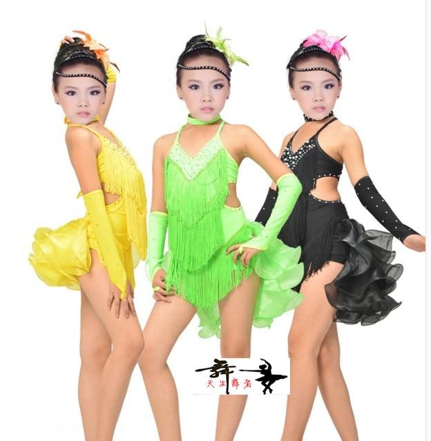 Nya stil barn latin dans kostymer senior spandex tofs tjejer latin dans klänning för tjejer latin dans klänningar S-4XL