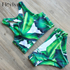ABOUTTHEFIT 2017 High Neck Bikini Swimsuit Green Leaf Print Bikini Women Swimwear Sexy Brazilian Bikini Set