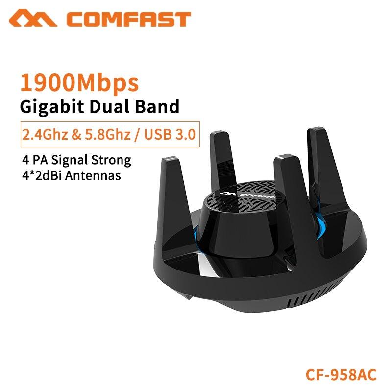 Comfast nouvelle carte réseau 1900 Mbps Gigabit 2.4G & 5.8G double bande 4 * 2dBi antennes PC Dongle pour Signal à travers le mur CF-958AC