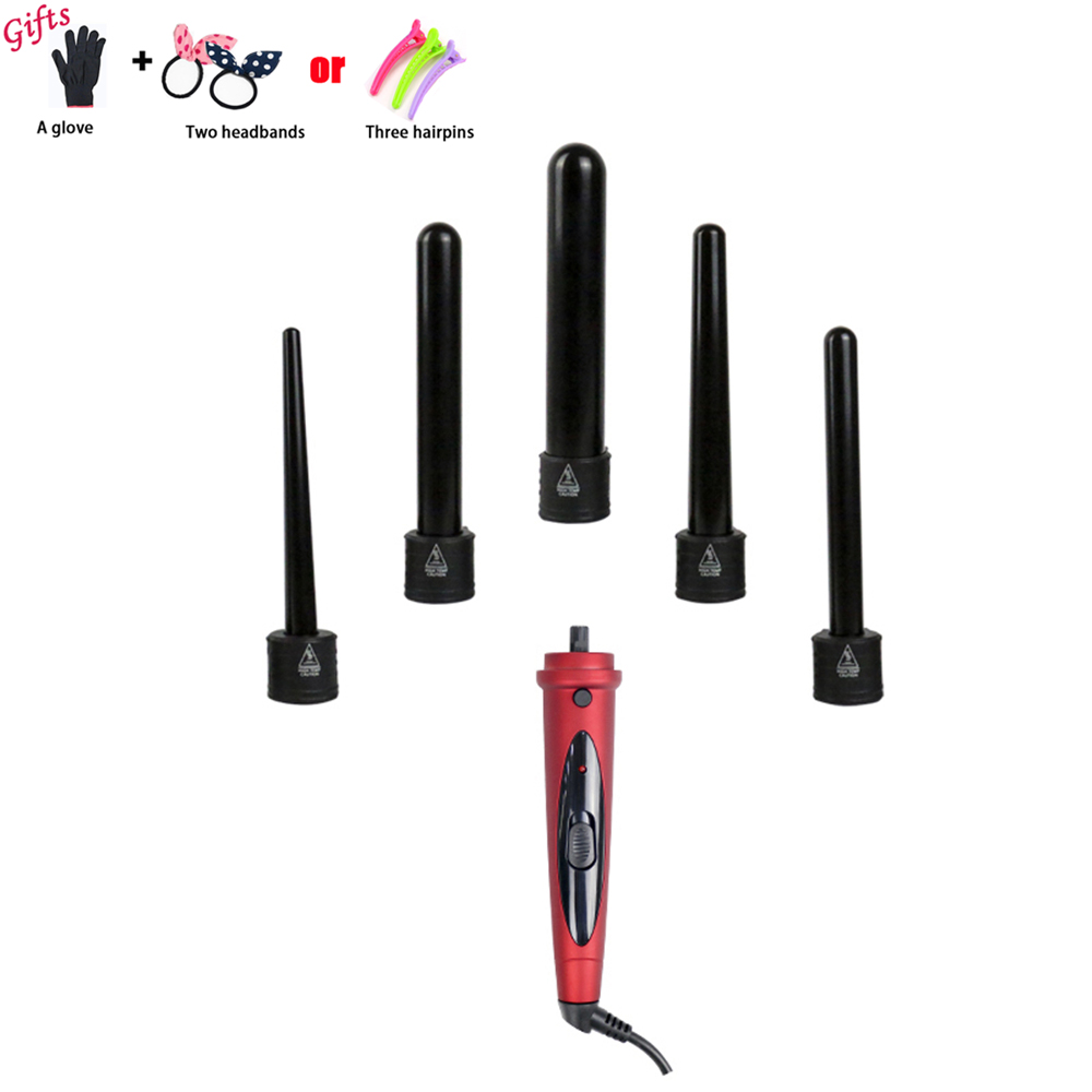 Hair Curler Pro Series 5 in 1 Curling Wand Set Hair Curling Tong 5pcs Hair Curling Iron The Wand Hair Curler Roller A30 ударная дрель metabo sbe 760 600841000