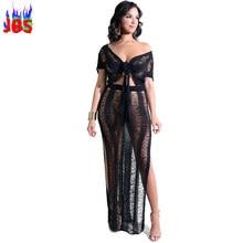 2018 Sexy Crochet Dress Women Short Sleeve Crop Top 2 Pieces Women s Set  Hollow High Split Club Bandage Knitting Maxi Dresses 0862746c2c4e