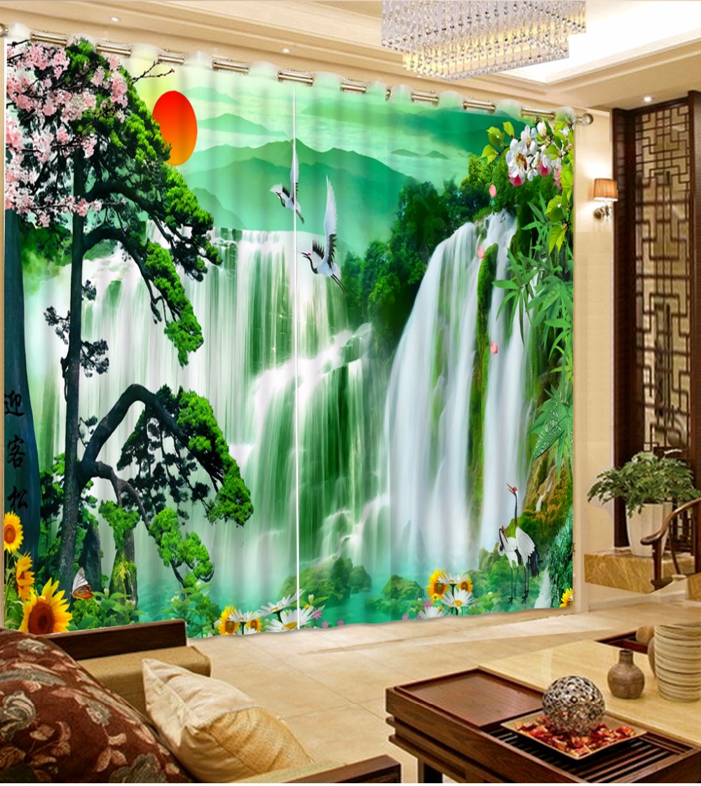 Chinese Beautiful Landscape Curtain For Home Window Decoration Waterfall Drapes Printing Bedroom CurtainsChinese Beautiful Landscape Curtain For Home Window Decoration Waterfall Drapes Printing Bedroom Curtains