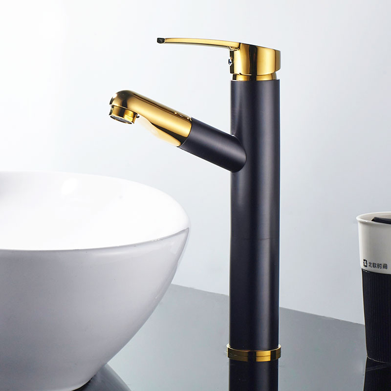 Tall Black Gold Color Brass Pull Out Bathroom Faucet Sink Basin Mixer Tap Cold Hot Water taps With Hand Spray Wholesale JK009BGT manitobah унты tall grain mukluk женск 11 black черный