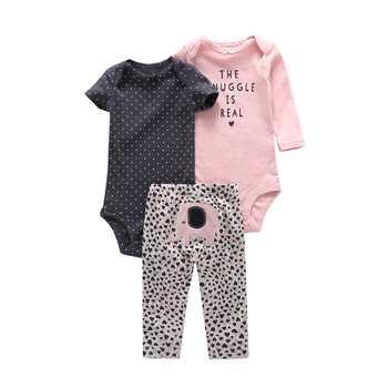 newborn girl boy set cotton infantil baby girl clothes long sleeve bodysuit letter+pants animal Elephant 3PCS pullover suit dot 1